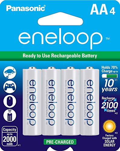 (Panasonic BK-3MCCA4BA eneloop AA 2100 Cycle Ni-MH Pre-Charged Rechargeable Batteries, 4 Pack)