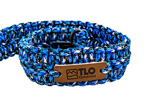 TLO Outdoors Paracord Gun Sling - Adjustable 2-Point Paracord Sling Rifle, Shotgun Crossbows (550 Rated Nylon, Kernmantle Paracord, Extra Wide, Blue/Black CAMO) (Best Rated Ar Rifles)