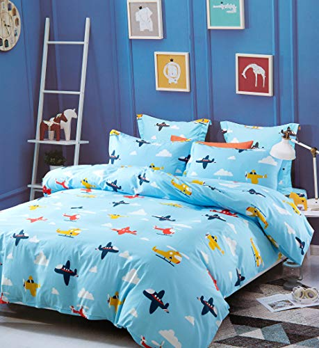 Eikei Kids Airplane Duvet Cover with Fitted Sheet Set 100% Cotton Helicopter Flying Plane Sky Clouds World Travel Decor Children Toddler Bedroom (Sky Blue, - Kids Airplane Bedding