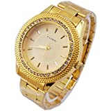 Jechin Mens Gold Watches Crystal Diamond Dial Gold Steel Analog Quartz Wrist Watch Stainless Steel Bracelet