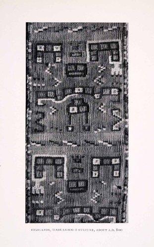 1930 Halftone Print Pre-Colombian Textile Tiwanaku Tiahuanaco Fabric Bolivia - Original Halftone Print