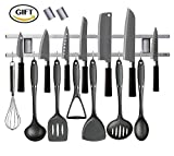 metal kitchen utencils - 18 Inch Magnetic Knife Holder Made From Stainless Steel with Strong Magnet, Wide Knife Strip, Knife Bar and Universal Use Magnetic Tool Organizer, Home Organizer and Bonus Included