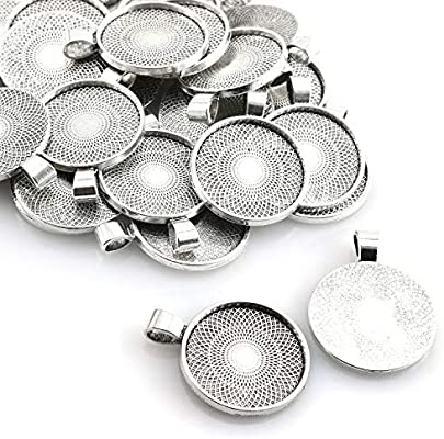 20Pcs Round Bezel Pendant Trays Blank Bases 25mm Cabochon Settings DIY Craft
