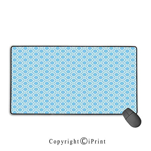 Mouse pad with Lock,Abstract,Oval Shaped Linked Egg Form Style Retro Symmetric Simplistic Artful Design Decorative,Sky Blue White, Suitable for Offices and Homes,15.8
