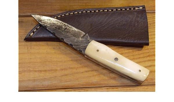 Cuchillo Artesanal 15 cm - Hoja Acero Damasco Empuñadura de ...