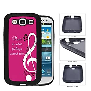 Music Quote Pink Background Musical Notes Design Samsung Galaxy S3 I9300 Silicone Cell Phone Case