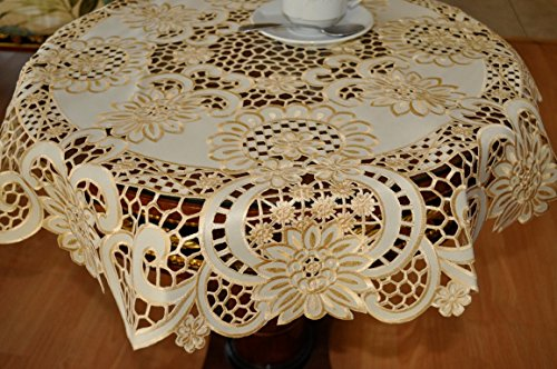 Lux Home fashion Tasleffa Gorgeous Embroidered Cut Work Design Linens Table Topper:36''x 36'' Round.Beige by Lux Home fashion