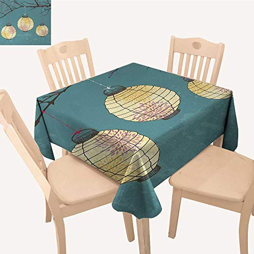 Lantern Printed Tablecloth Three Paper Lanterns Hanging on Branches Lighting Fixture Source Lamp Boho Dining Table Cover Teal Light Yellow W 60