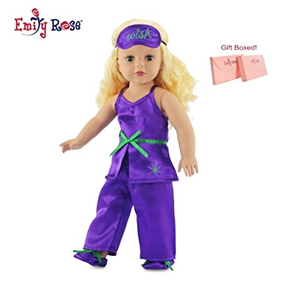"""Emily Rose Fits American Girl 18"""" Purple Pajamas PJs, Slippers, Eye Mask - 18 Inch Doll Clothes/Clothing: Toys & Games"""