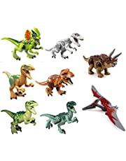 ArRord 8Pcs Jurassic Dinosaur Building Blocks Sets Dinosaur Bricks Toy Compatible with Lego