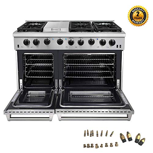 Thor Kitchen 48 inch Freestanding Pro-Style Double Oven Professional Gas Range with 6.8 Cu. Ft. Oven, 6 Burners 1 Griddle, in Stainless Steel – LRG4801U + LP Conversion Kit