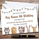 Forest Woodland Animals Childrens Birthday Party Invitations