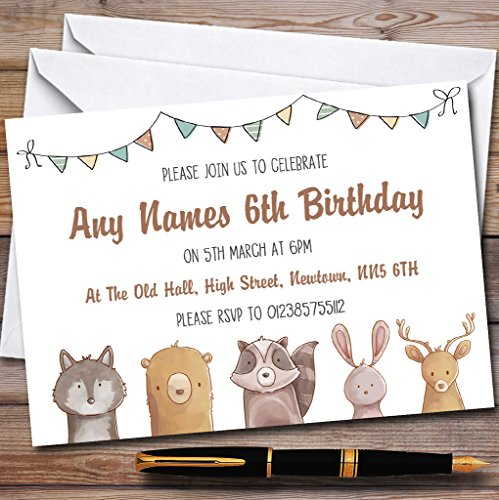 Forest Woodland Animals Childrens Birthday Party Invitations by The Card Zoo