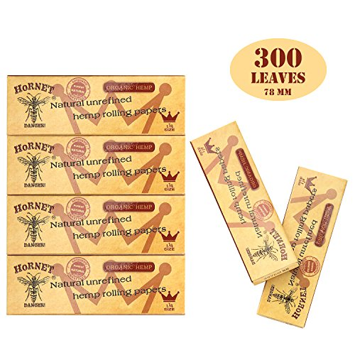 HORNET 1 1/4 Organic Rolling Papers, 300 PCS Unbleached and Raw Cigarette Rolling Papers - Papers Rolling Cigarette