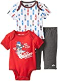 Quiksilver Baby-Boys Newborn Red Printed Body with Pant, Multi, 0-3 Months