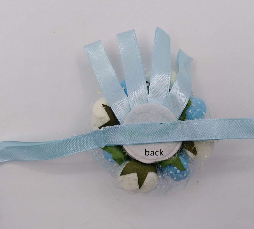 Arlai 1 pcs Blue Brides Wrist Corsage Bridesmaid Wedding Decorative Flower Artificial Dance Hand Flower