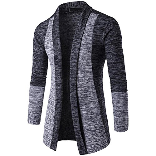 Knit Men's Sweater Dark Dark Gray Knitwear Fashion Color Winter Sweatshirt Autumn BHYDRY Jacket Cardigan Coat Cotton B5wYnUpTxq