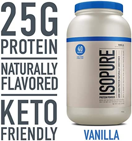 Isopure Naturally Flavored, Keto Friendly Protein Powder, 100 Whey Protein Isolate, Flavor Natural Vanilla, 3 Pound