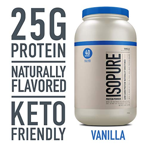 Isopure Naturally Flavored, Keto Friendly Protein Powder, 100% Whey Protein Isolate, Flavor: Natural Vanilla, 3 Pound