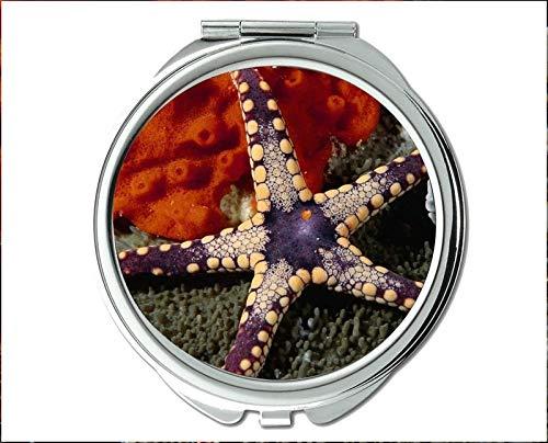 Mirror,Compact Mirror,red fish theme of Pocket Mirror,portable mirror 1 X 2X -