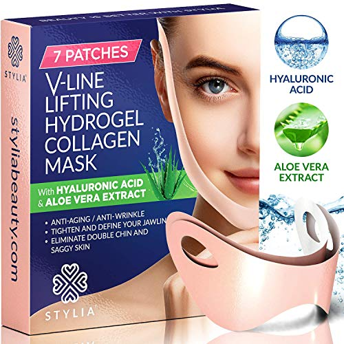 7 Piece V Line Shaping Face Masks - Lifting Hydrogel Collagen Mask with Aloe Vera - Anti-Aging and Anti-Wrinkle Band - Double Chin Reducer Strap - Contouring, Slimming and Firming Face Lift Sheet