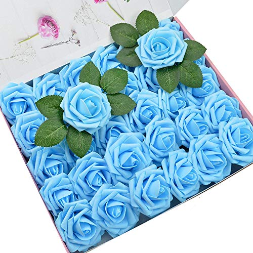 DerBlue 60pcs Artificial Roses Flowers Real Looking Fake Roses Artificial Foam Roses Decoration DIY for Wedding Bouquets,Arrangements Party Baby Shower Home Decorations-with Green Leaves(Blue)]()