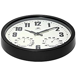 Infinity Instruments Munich Round Clock, 14, Black by Infinity Instruments