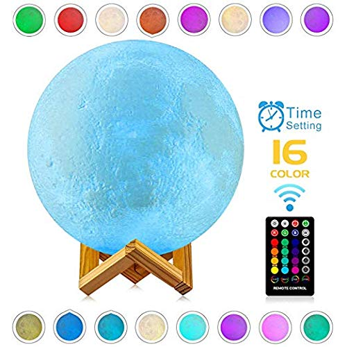 Moon Lamp, LOGROTATE 3D Print LED 16 Colors RGB Moon Light, Decorative Lights Night Light with Remote&Touch Control and Adjustable Brightness & USB Recharge for Kids Lovers Birthday Gifts (6.0 inch)