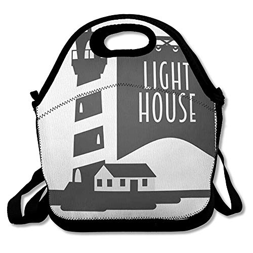 Reusable Lunch Bag for Men Women Ocean Lighthouse Tattoo Design Graphic Insulated Lunch Tote for Travel Office School
