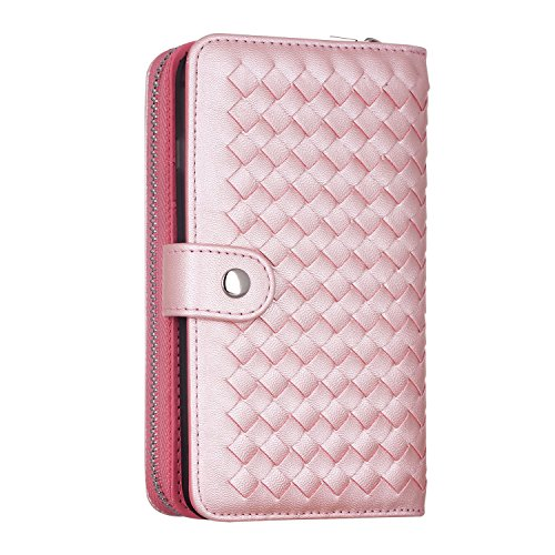 Urvoix-iPhone-6-Plus-iPhone-6S-Plus-Case-Woven-Skin-Leather-Zipper-Wallet-DetachableSeparable-Magnetic-Back-Shell-Cover-w-Hand-Strap-Card-Slots-for-iPhone6-Plus6S-Plus55-Screen-PINK