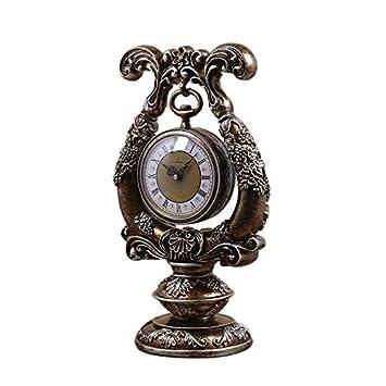 SESO UK- Reloj de cuarzo retro Europeo Resina Relojes de pie de estantería de la sala de estar (Color : Bronce) : Amazon.es: Hogar