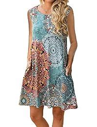 Women Summer Sleeveless Damask Print T-Shirt Dress with...