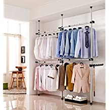 Portable Indoor Garment Rack Tools-free DIY Coat Hanger Clothes Wardrobe 3 Poles 4 Bars. Heavy Duty Stainless Steel Poles and Bars. 60kg Loading Per Horizontal Bar. Free 105cm Reach Hook Included.[3204]
