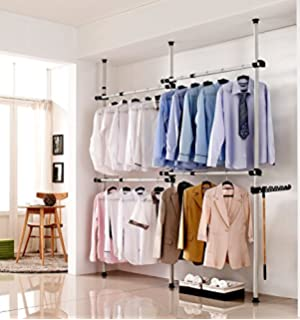 portable indoor garment rack toolsfree diy coat hanger clothes wardrobe 3 poles 4 bars - Clothes Hanger Rack