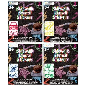 Sidewalk Chalk Stencils 4AST 2 Sheets/PK ON 12PC MDSGSTRIP, Case Pack of 48