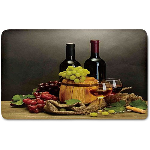Memory Foam Bath Mat,Winery Decor,Barrel Bottles and Glasses of Wine and Ripe Grapes on Wooden Table Decorative PicturePlush Wanderlust Bathroom Decor Mat Rug Carpet with Anti-Slip Backing,Multi by iPrint