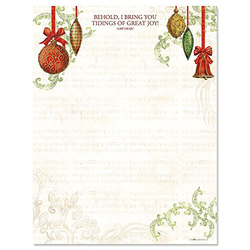 Ornaments Christmas Letter Papers - Set of 25 Christmas stationery papers are 8 1/2