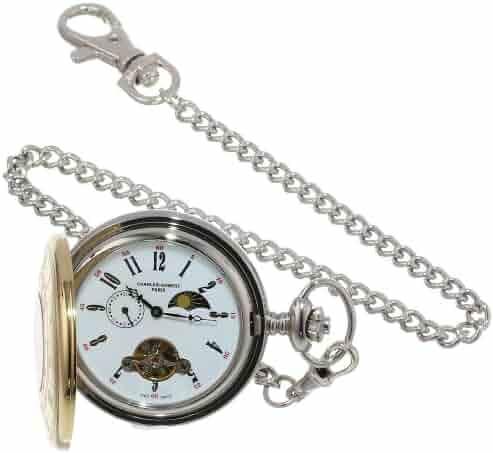 Charles-Hubert, Paris Stainless Steel Two-Tone Mechanical Pocket Watch