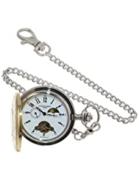 Charles-Hubert, Paris Stainless Steel Two-Tone Mechanical Pocket Watch