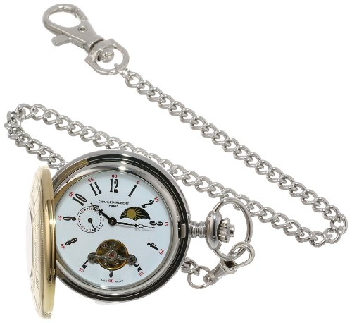 Watch Stainless Pocket 14k Steel - Charles-Hubert, Paris Stainless Steel Two-Tone Mechanical Pocket Watch