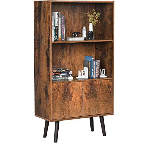 Homfio Retro Bookcase, Utility 2-Tier Bookshelf, Freestanding Storage Cabinet with Doors, Bookshelf Furniture for Living Room, Office, Bedroom, Library, Rustic Brown