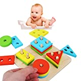 Looching 1 Wooden Educational Preschool Shape Color Recognition DIY Geometric Board Block Stack Sort Chunky Puzzle Toy for Kids Children Baby Toddler Boy Girl Birthday Christmas Gift Set (Age 3+)