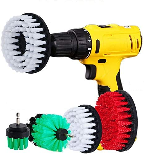 Drill Powered Heavy Duty Outdoor Stiff Bristle Scrub Brush Kit by Drillbrush