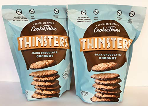 Mrs. Thinsters (2 PACK) DARK CHOCOLATE COCONUT Cookie Thins 18 ounces Each Bag