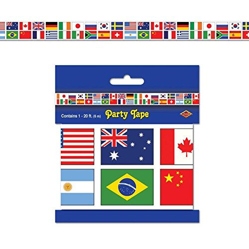 International flag party tape all weather poly material for All weather material