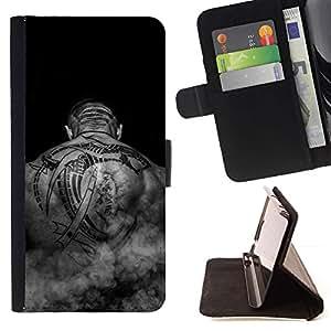 Momo Phone Case / Flip Funda de Cuero Case Cover - Art Tattoo Negro Blanco músculos de la espalda del hombre calvo - LG G4c Curve H522Y (G4 MINI), NOT FOR LG G4
