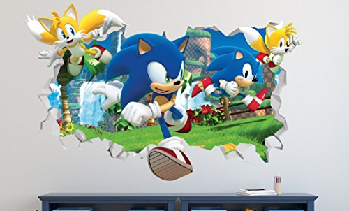 "Price comparison product image Sonic Forces Wall Decal Smashed 3D Sticker Vinyl Decor Mural Video Game - Broken Wall - 3D Designs - LS91 (Small (Wide 22"" x 12"" Height))"
