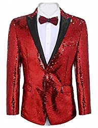 Men's One Button Sequins Blazer
