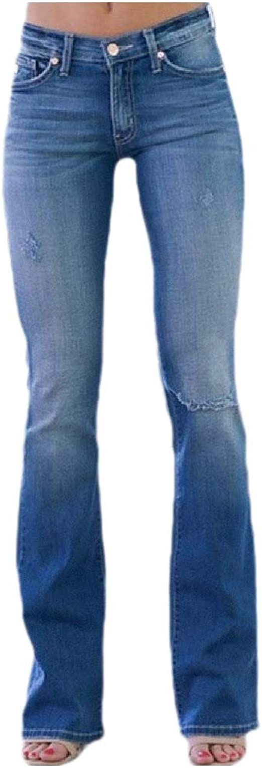 Romancly Women's Slim Flared Holes Mid Rise Faded Skinny Jeans