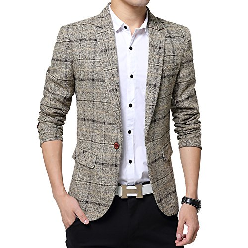 Men's Tweed Plaid Blazer Jacket Casual Business Sport Coat Long Sleeve One Button Slim Fit Suits Single-Breast Outwear Khaki ()